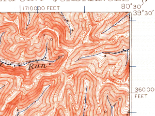 Reduced fragment of topographic map en--usgs--063k--052323--(1924)--N039-30_W080-45--N039-15_W080-30; towns and cities Salem, Smithfield