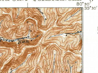 Reduced fragment of topographic map en--usgs--063k--052323--(1925)--N039-30_W080-45--N039-15_W080-30; towns and cities Salem, Smithfield