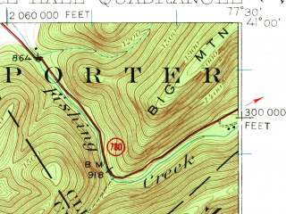 Reduced fragment of topographic map en--usgs--063k--052339--(1924)--N041-00_W077-45--N040-45_W077-30; towns and cities Centre Hall, Pleasant Gap, Zion