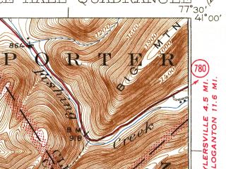 Reduced fragment of topographic map en--usgs--063k--052339--(1929)--N041-00_W077-45--N040-45_W077-30; towns and cities Centre Hall, Pleasant Gap, Zion