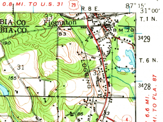 Reduced fragment of topographic map en--usgs--063k--052341--(1941)--N031-00_W087-30--N030-45_W087-15; towns and cities Century