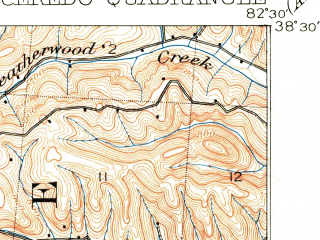 Reduced fragment of topographic map en--usgs--063k--052342--(1901)--N038-30_W082-45--N038-15_W082-30; towns and cities Ashland, Westwood, Catlettsburg, Ceredo, Coal Grove