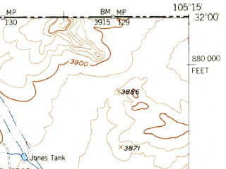Reduced fragment of topographic map en--usgs--063k--052343--(1955)--N032-00_W105-30--N031-45_W105-15