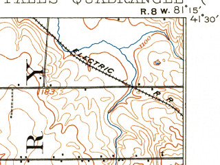 Reduced fragment of topographic map en--usgs--063k--052348--(1908)--N041-30_W081-30--N041-15_W081-15; towns and cities Solon, Pepper Pike, Aurora, Twinsburg, Orange