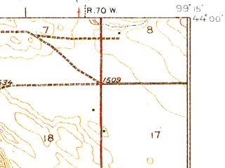 Reduced fragment of topographic map en--usgs--063k--052355--(1935)--N044-00_W099-30--N043-45_W099-15; towns and cities Chamberlain, Oacoma