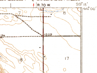 Reduced fragment of topographic map en--usgs--063k--052355--(1939)--N044-00_W099-30--N043-45_W099-15; towns and cities Chamberlain, Oacoma