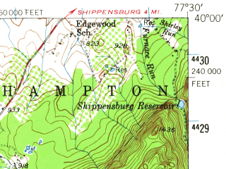 Reduced fragment of topographic map en--usgs--063k--052357--(1943)--N040-00_W077-45--N039-45_W077-30; towns and cities Chambersburg, Waynesboro, Mont Alto, Fayetteville, Greencastle