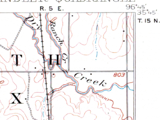 Reduced fragment of topographic map en--usgs--063k--052388--(1905)--N035-45_W097-00--N035-30_W096-45; towns and cities Sparks, Warwick, Chandler