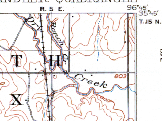 Reduced fragment of topographic map en--usgs--063k--052388--(1907)--N035-45_W097-00--N035-30_W096-45; towns and cities Chandler, Davenport, Sparks