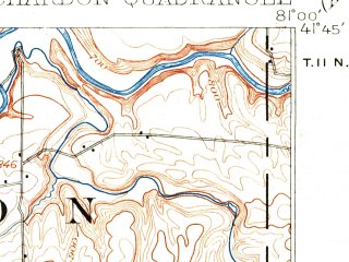 Reduced fragment of topographic map en--usgs--063k--052410--(1904)--N041-45_W081-15--N041-30_W081-00; towns and cities Painesville, Aquilla, Chardon