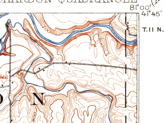 Reduced fragment of topographic map en--usgs--063k--052410--(1906)--N041-45_W081-15--N041-30_W081-00; towns and cities Painesville, Chardon, Aquilla