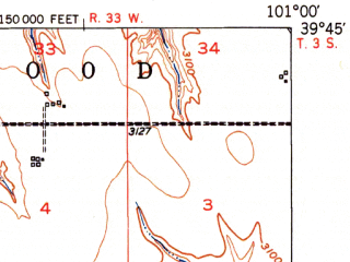 Reduced fragment of topographic map en--usgs--063k--052411--(1951)--N039-45_W101-15--N039-30_W101-00