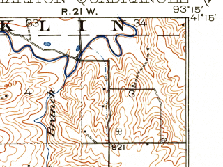 Reduced fragment of topographic map en--usgs--063k--052412--(1918)--N041-15_W093-30--N041-00_W093-15; towns and cities Chariton, Lacona, Lucas