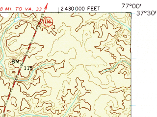 Reduced fragment of topographic map en--usgs--063k--052414--(1953)--N037-30_W077-15--N037-15_W077-00