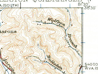 Reduced fragment of topographic map en--usgs--063k--052416--(1931)--N038-30_W081-45--N038-15_W081-30; towns and cities Charleston, South Charleston, Dunbar, Coal Fork