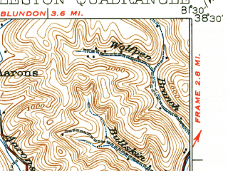 Reduced fragment of topographic map en--usgs--063k--052416--(1935)--N038-30_W081-45--N038-15_W081-30; towns and cities Charleston, South Charleston, Dunbar, Coal Fork