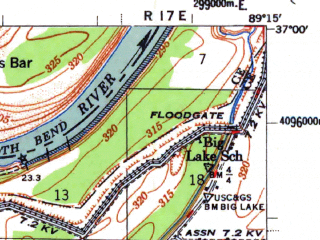Reduced fragment of topographic map en--usgs--063k--052417--(1954)--N037-00_W089-30--N036-45_W089-15; towns and cities Charleston, Anniston, Bertrand, Diehlstadt