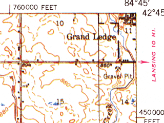 Reduced fragment of topographic map en--usgs--063k--052442--(1949)--N042-45_W085-00--N042-30_W084-45; towns and cities Charlotte