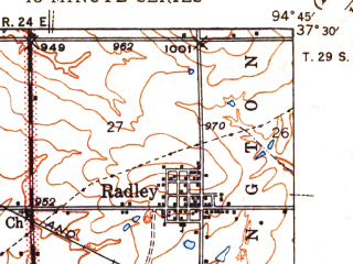 Reduced fragment of topographic map en--usgs--063k--052467--(1945)--N037-30_W095-00--N037-15_W094-45; towns and cities Cherokee, Roseland, Scammon
