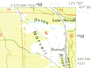 Reduced fragment of topographic map en--usgs--063k--052473--(1956)--N040-30_W121-15--N040-15_W121-00; towns and cities Chester, Westwood