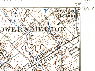 Reduced fragment of topographic map en--usgs--063k--052476--(1898)--N040-00_W075-30--N039-45_W075-15; towns and cities Drexel Hill, Chester, Springfield, Darby, Darby Township