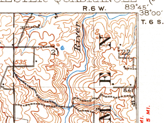 Reduced fragment of topographic map en--usgs--063k--052477--(1915)--N038-00_W090-00--N037-45_W089-45; towns and cities Chester, St. Mary, Kaskaskia, Lithium