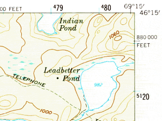 Reduced fragment of topographic map en--usgs--063k--052482--(1958)--N046-15_W069-30--N046-00_W069-15 in area of Umbazooksus Lake, Mud Pond