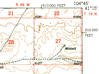 Reduced fragment of topographic map en--usgs--063k--052486--(1950)--N041-15_W105-00--N041-00_W104-45; towns and cities Cheyenne, Warren Afb, Fox Farm-college, Ranchettes