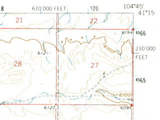 Reduced fragment of topographic map en--usgs--063k--052486--(1961)--N041-15_W105-00--N041-00_W104-45; towns and cities Cheyenne, Ranchettes, South Greeley, Warren Afb