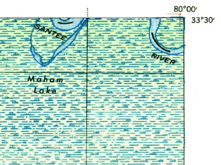 Reduced fragment of topographic map en--usgs--063k--052494--(1943)--N033-30_W080-15--N033-15_W080-00