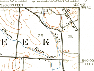 Reduced fragment of topographic map en--usgs--063k--052518--(1906)--N039-30_W083-00--N039-15_W082-45; towns and cities Chillicothe, Kingston