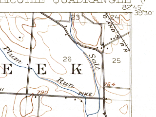 Reduced fragment of topographic map en--usgs--063k--052518--(1908)--N039-30_W083-00--N039-15_W082-45; towns and cities Chillicothe, Kingston