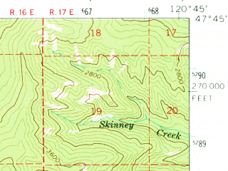 Reduced fragment of topographic map en--usgs--063k--052538--(1965)--N047-45_W121-00--N047-30_W120-45