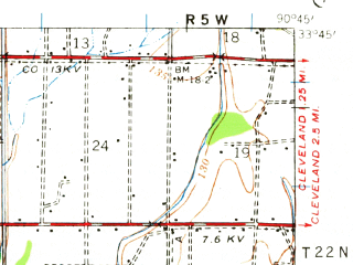 Reduced fragment of topographic map en--usgs--063k--052543--(1939)--N033-45_W091-00--N033-30_W090-45; towns and cities Shaw