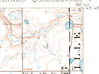Reduced fragment of topographic map en--usgs--063k--052545--(1910)--N045-45_W096-15--N045-30_W096-00; towns and cities Alberta, Chokio, Donnelly