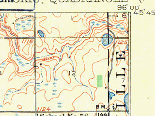 Reduced fragment of topographic map en--usgs--063k--052545--(1912)--N045-45_W096-15--N045-30_W096-00; towns and cities Chokio, Donnelly, Alberta