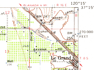 Reduced fragment of topographic map en--usgs--063k--052549--(1960)--N037-15_W120-30--N037-00_W120-15; towns and cities Chowchilla, Le Grand
