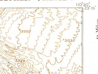 Reduced fragment of topographic map en--usgs--063k--052569--(1917)--N033-15_W110-45--N033-00_W110-30