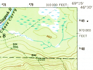 Reduced fragment of topographic map en--usgs--063k--052579--(1962)--N046-30_W069-30--N046-15_W069-15 in area of Eagle Lake, Churchill Lake