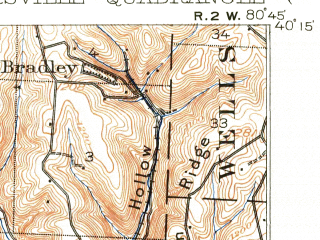 Reduced fragment of topographic map en--usgs--063k--052619--(1905)--N040-15_W081-00--N040-00_W080-45; towns and cities St. Clairsville, Harrisville, Mount Pleasant, Neffs