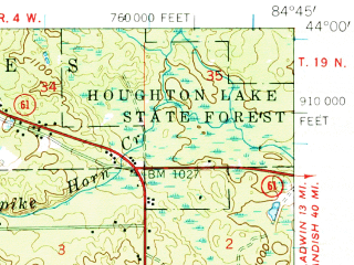 Reduced fragment of topographic map en--usgs--063k--052625--(1959)--N044-00_W085-00--N043-45_W084-45; towns and cities Clare, Farwell