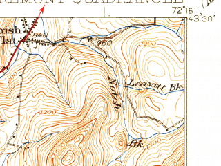 Reduced fragment of topographic map en--usgs--063k--052626--(1929)--N043-30_W072-30--N043-15_W072-15; towns and cities Claremont, Springfield