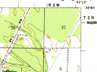 Reduced fragment of topographic map en--usgs--063k--052627--(1957)--N034-45_W091-30--N034-30_W091-15; towns and cities Roe, Ulm, Clarendon