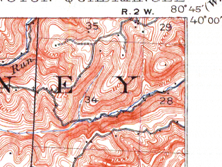 Reduced fragment of topographic map en--usgs--063k--052629--(1905)--N040-00_W081-00--N039-45_W080-45; towns and cities Powhatan Point, Shadyside, Clarington