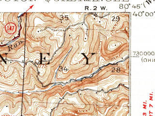 Reduced fragment of topographic map en--usgs--063k--052629--(1940)--N040-00_W081-00--N039-45_W080-45; towns and cities Clarington, Glen Dale, Powhatan Point