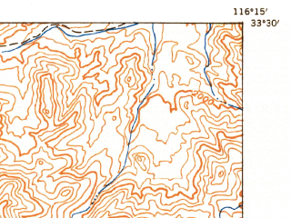 Reduced fragment of topographic map en--usgs--063k--052634--(1942)--N033-30_W116-30--N033-15_W116-15