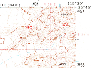 Reduced fragment of topographic map en--usgs--063k--052635--(1956)--N035-45_W115-45--N035-30_W115-30 in area of Mesquite Lake (dry)