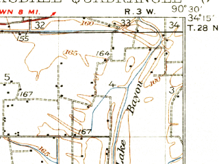 Reduced fragment of topographic map en--usgs--063k--052641--(1935)--N034-15_W090-45--N034-00_W090-30; towns and cities Clarksdale, Lyon, Alligator, Duncan
