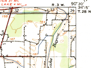 Reduced fragment of topographic map en--usgs--063k--052641--(1939)--N034-15_W090-45--N034-00_W090-30; towns and cities Clarksdale, Alligator, Duncan, Lyon