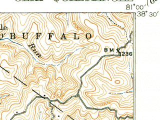 Reduced fragment of topographic map en--usgs--063k--052652--(1910)--N038-30_W081-15--N038-15_W081-00; towns and cities Clay